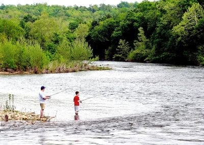 Father and Son Fish on the River